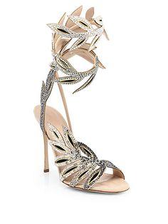 Sergio Rossi - Flora Crystal-Encrusted Wrap Sandals - Saks.com