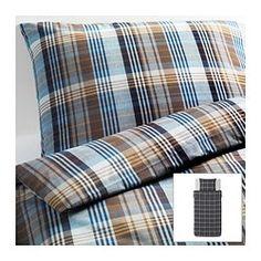 BENZY komplet pościeli, niebieski, w kratę Długość poszwy na kołdrę: 200 cm Szerokość poszwy na kołdrę: 150 cm Długość poszewki na poduszkę: 50 cm