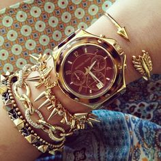 Super trendy arm party stacked with a boyfriend style chunky watch! <3