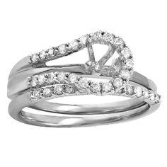 Elora 14k Gold 1/4ct TW Diamond Semi Mount Bridal Ring Set