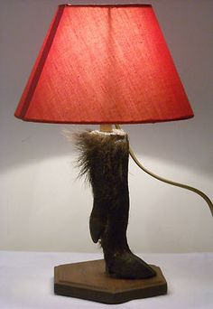 RARE Vintage Wild Boar Sanglier foot table lamp from France WORKING taxidermy