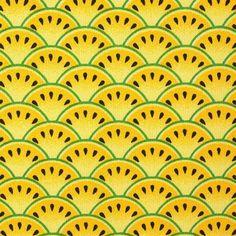 Tissu coton enduit pastèques jaunes