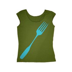 NEW Giant Fork Shirt   Ladies Olive Tee in XLarge by Xenotees, $22.00