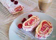 Malinová roláda s kokosem | NejRecept.cz Czech Recipes, French Toast, Muffin, Cheesecake, Breakfast, Desserts, Food, Pastries, Drinks