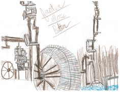 "Child's drawing of their field trip to Slater Mill. The Industrial Revolution--  ""faster, more, better"""
