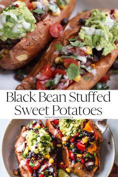 Sweet Potato Recipes Healthy, Tasty Vegetarian Recipes, Vegan Dinner Recipes, Vegan Dinners, Veggie Recipes, Whole Food Recipes, Recipes With Beans Healthy, Vegan Stuffed Sweet Potato, Eat Clean Recipes