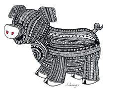 Black and White Zentangle Pig drawing Print by LimeGreenArtShop, $15.00