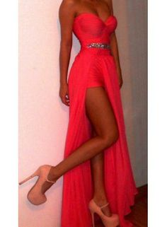 2014 New Fashion Red Coral Prom Dresses Chiffon Sweetheart Beading Wasit High Slit Sexy Long Evening Dresses 2