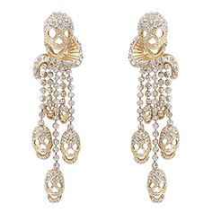 EVER FAITH Womens Austrian Crystal Halloween Skull Dangle Earrings Clear GoldTone -- Check this awesome product by going to the link at the image.(This is an Amazon affiliate link and I receive a commission for the sales)