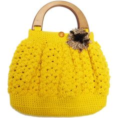 Shell Pattern Crochet Bag with Wooden Handle Top - Mustard-FREE... ($40) ❤ liked on Polyvore