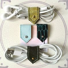 Leather Earphone Cords and Cable Tidy Organisers in Blues and Green, Stationary, Sets of Two or Four