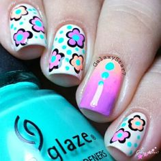 Cream Base with Neon Flowers and Dots and Gradient Accent