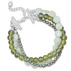 Multistrand Green Shell and Glass Bracelet 33570-7 | I Love Bracelets