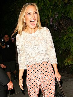 Love the outfit! Star Tracks: Friday, May 9, 2014   FEELING FESTIVE   Kate Hudson looks ready for a party – from her sensational smile to those dizzyingly dotted pants – as she enters SUR Lounge in West Hollywood on Thursday.