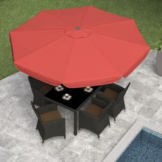 CorLiving 10 ft. Steel Patio Umbrella with Push Button Tilt