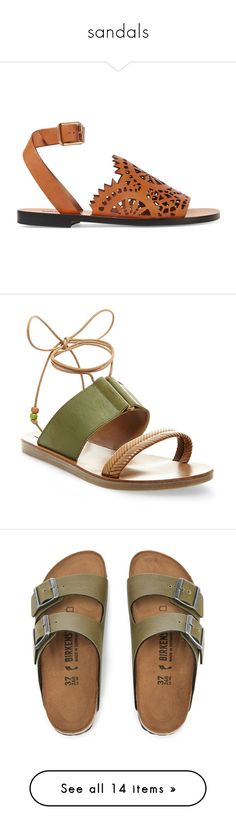 """""""sandals"""" by harthkai on Polyvore featuring shoes, sandals, sapatos, flats, my shoes, leather strap sandals, t-strap flats, tan leather flats, flat pumps and beach shoes"""