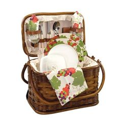 Wine Gift Basket- I like the idea of some picnic style disposable flatware etc