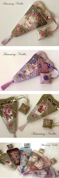 Love these pretty ideas for scissors holders with matching fobs (Front  Back views)! :)
