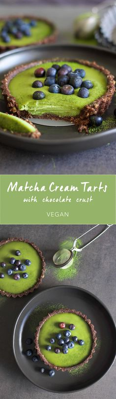 Matcha Cream Tarts with Chocolate Crust, one of the most popular recipes from my Instagram!