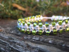 White Macramé Bracelet with Green Beads