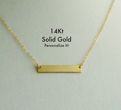 14K Gold Bar Necklace Real Gold Bar Necklace Custom by LittleSAS