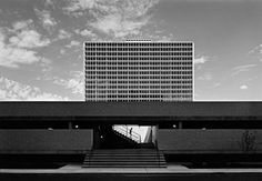 East Tower at Lafayette Park, Detroit, by Mies van der Rohe, 1963. Photo taken in 1974 by Balthazar Korab. / Archinect