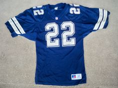 67723cec382 Vintage 90s Russell Athletic NFL Dallas Cowboys Jersey Emmitt Smith #22 Size  44