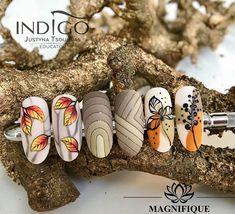 # Nails Autumn nails indigo nails wzorki jesienne, autumn nails art politur Many women prefer to … Nail Art Pastel, Nail Art Diy, Acrylic Nail Art, Nail Art Designs, Simple Nail Designs, Autumn Nails, Winter Nail Art, Cute Nails, Pretty Nails