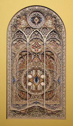 Artist Eric Standley creates incredibly intricate stained glass window sculptures out of laser cut paper. Composed of hundreds of layers of colored paper, the sculptures are inspired by Gothic and Islamic architecture.