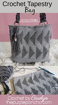Crochet Tapestry Bag – Free Crochet Pattern – The Purple Poncho – Crochet Bag İdeas. Bag Crochet, Crochet Market Bag, Crochet Clutch, Crochet Motifs, Crochet Purses, Free Crochet, Crochet Patterns, Mandala Crochet, Crochet Geek