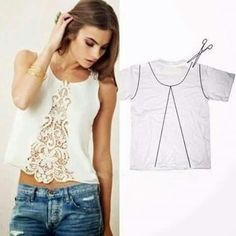 T-shirt turned into a cute tank with a lace insert in the center.