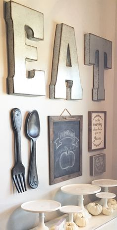 Kitchen collage; like chalk board with b&w's of kids