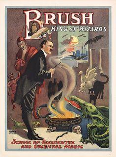 Original Vintage 1920s MAGIC Poster BRUSH WIZARD KING