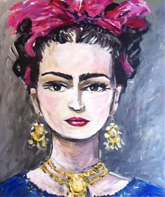 Frida Kahlo Portrait on Canvas by DevinePaintings on Etsy, $245.00