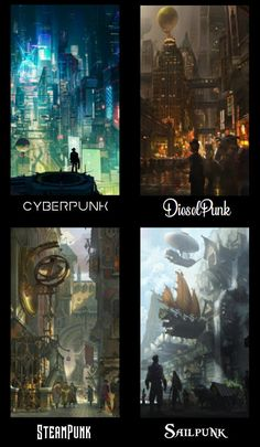 What is your favorite type of Punk ? The Effective Pictures We Offer You About Book Genres activities A quality picture can tell you many things. You can find the most beautiful pictures that can be p Fantasy Art Landscapes, Fantasy Landscape, Arte Steampunk, Steampunk City, Arte Punk, Punk Art, Arte Cyberpunk, Art Africain, Environment Concept Art