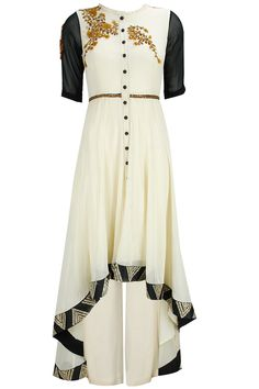 Ivory zardosi work cascading anarkali set available only at Pernia's Pop-Up Shop.