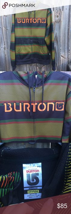 NWT Burton Snowboarding/ski fleece hoodie/jacket I really don't know much about this jacket. I found it online in a very similar style and they are $90-$100. Never been worn- has sat in the closet for a few years and it's time for it to find a new home! I am listing it as WITH tags, but I don't remember if it had tags on it or not. They no longer have this particular pattern, but they still have this style+material. The Dry ride material is very light and smooth, with a fleece interior…