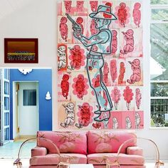 Large painting by Conrad Botes. The sofa is covered with a soft fabric flowers from Home Fabrics. Facing the sofa, ghost chairs, Kartell My Living Room, Living Spaces, Deco Cool, Modern Interior, Interior Design, Stylish Interior, Ghost Chairs, Pink Sofa, House Colors