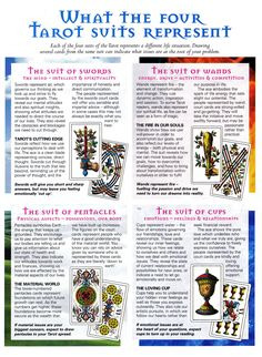 Divination: What the Four #Tarot Suits Represent.