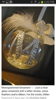 Monogram ornaments, and could be done in so many different styles!  Could make wonderful personalized gifts! :)