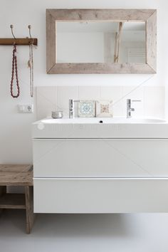 Simple and affordable. Keep this in mind. It's an ikea sink and vanity, affordable tile and an easy to find mirror. I'd do different tiles...