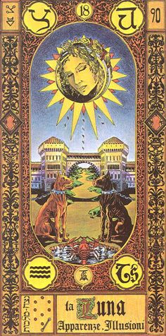 XVIII. The Moon - Tavaglione Tarot - The Stairs of Gold Tarot by Giorgio Tavaglione
