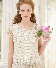 Crochetemoda: Blusa de Crochet Creme