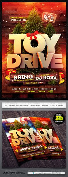 Toy Drive Flyer Template  • Available here → http://graphicriver.net/item/toy-drive-flyer-template/6170448?s_rank=77&ref=pxcr
