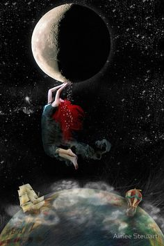 ☽☽ ℓa ℓuna ☾☾ Clinging To Hope by Aimee Stewart Sun Moon Stars, Sun And Stars, Fantasy Kunst, Fantasy Art, Moon Magic, Beautiful Moon, Moon Goddess, Star Goddess, Foto Art