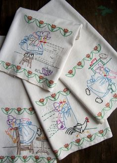 Vintage Embroidered Dish Towel Adventures In by theuniquebird