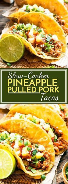 Slow cooker pineapple pulled pork recipe that can be served in tacos or on a bun for a burger. As a bonus, it is served with a delicious, homemade pineapple BBQ sauce! Pulled Pork Tacos, Pulled Pork Recipes, Shredded Pork Tacos, Shredded Chicken, Slow Cooker Recipes, Cooking Recipes, Healthy Recipes, Sauce Recipes, Spinach Recipes