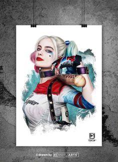 Harley Quinn Tattoo, Joker Und Harley Quinn, Harley And Joker Love, Harley Quinn Drawing, Margot Robbie Harley Quinn, Harvey Quinn, Arley Queen, Suicide Squad