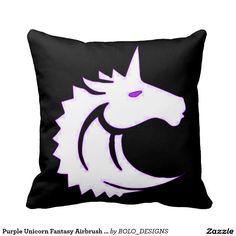 Purple Unicorn Fantasy Airbrush Art Throw Pillow