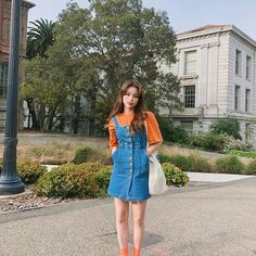Image may contain: 1 person, standing, tree, shoes, sky and outdoor Ulzzang Fashion, Asian Fashion, Retro Fashion, Girl Fashion, Fashion Outfits, Classy Outfits, Cool Outfits, Korean Summer Outfits, Alternative Fashion